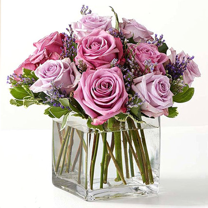 Vase Of Royal Purple Roses: Floral Arrangements