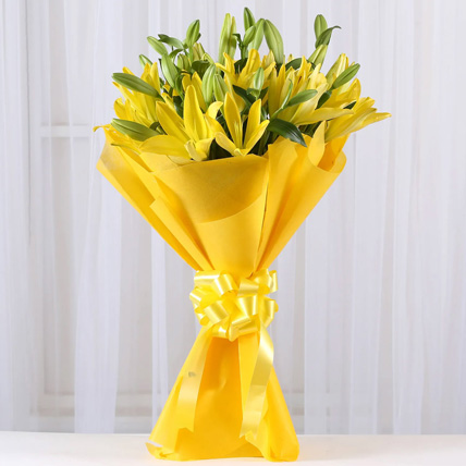Yellow Asiatic Lilies Bouquet In Yellow Paper: Father's Day Gifts