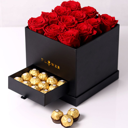 Forever Red Roses With Rochers In Box: Same Day Delivery Gifts