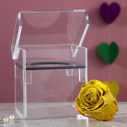 Olive Green Forever Rose In Acrylic Box: Happy Birthday Flowers