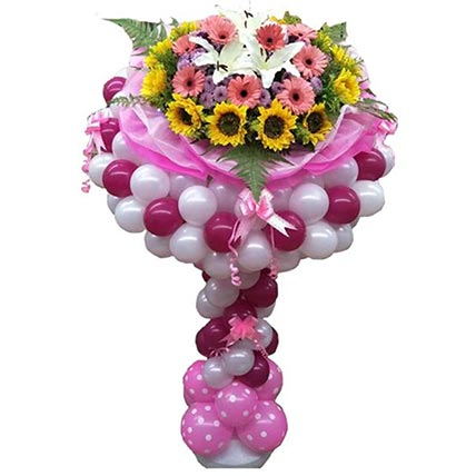 Colourful Bouquet Stand Of Flower N Balloons: Balloons Delivery