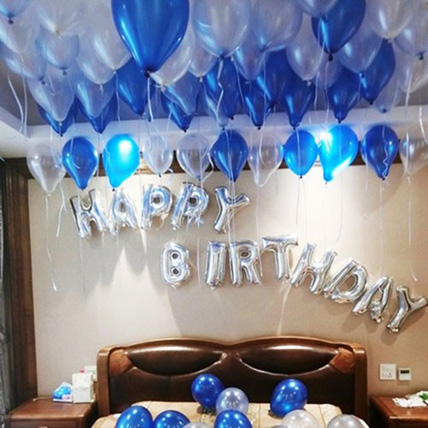 Happy Birthday Blue and Silver Balloon Decor: Balloons Delivery