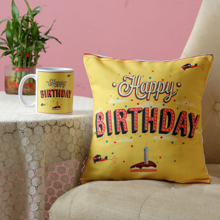 Printed Birthday Mug & Cushion Combo: Combo Gifts