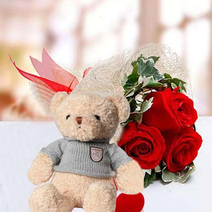 Red Roses and Red & White Teddy Combo: Happy Birthday Flowers