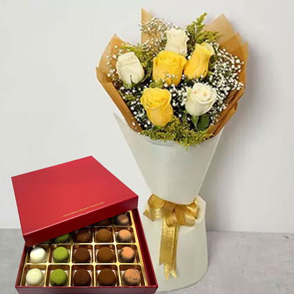 Yellow Roses & Free Free Marshmallow Chocolate:  Gifts
