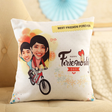 Personalised Friends On Cycle Cushion: International Friendship Day