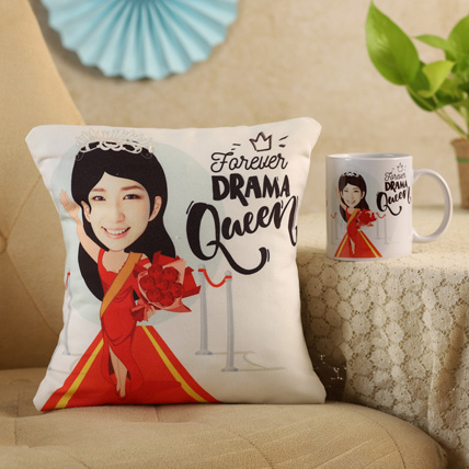 Forever Drama Queen Personalised Cushion & Mug: Custom Women's Day Gifts