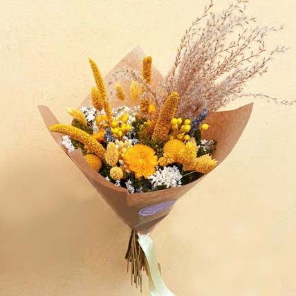 Yellow Dried Flower Bouquet: Dried Flowers