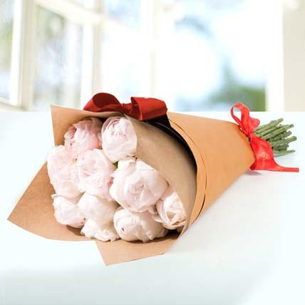 10 Light Pink Peonies Bouquet: Peonies Flowers