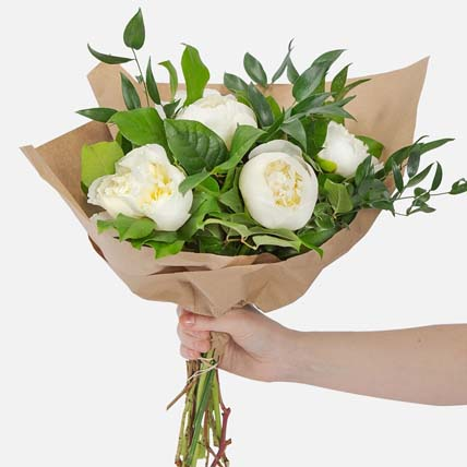 Elegant 5 White Peonies Bouquet: Mid Autumn Gifts