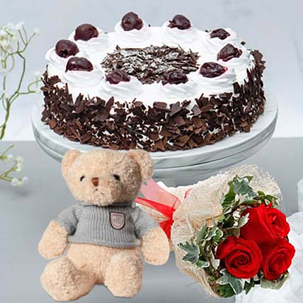 Black Forest Cake & Romantic Roses Teddy Combo: Flowers With Cake