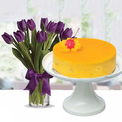 Mango Mousse Cake & Royal Purple Tulips: Flowers and Cake Delivery