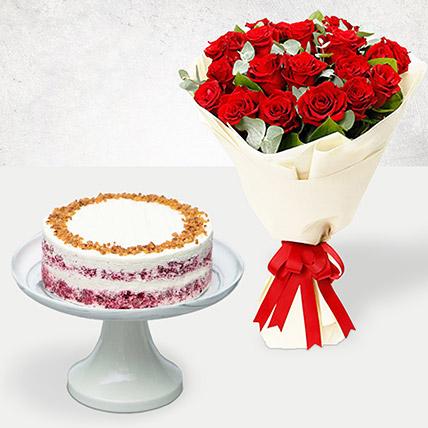 Red Velvet Peanut Butter Cake & Timeless Roses: Wedding Cake