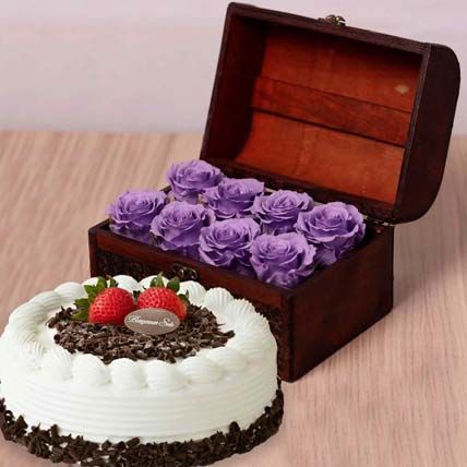 Black Forest Cake & 8 Purple Forever Roses in Treasure Box: Flowers With Cake