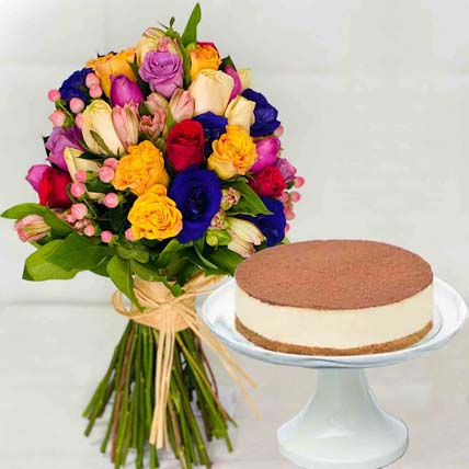 Tiramisu Cake & Colourful Flower Bunch: Flowers With Cake