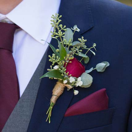 Gorgeous Red Rose boutonniere: Corsages