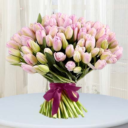 Grand Pink Tulips Bouquet: Tulip Bouquet