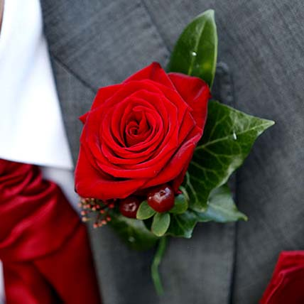 Stunning Red Rose boutonniere: Corsage Flowers