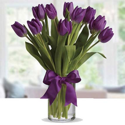 Arrangement of Purple Tulip: Birthday Flowers