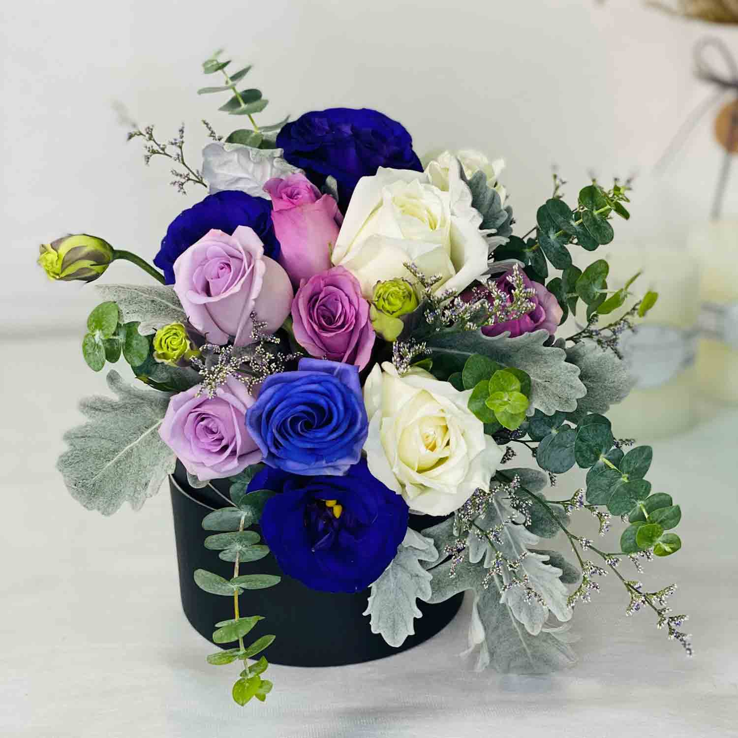 Box Of Mixed Roses: Blue Flowers