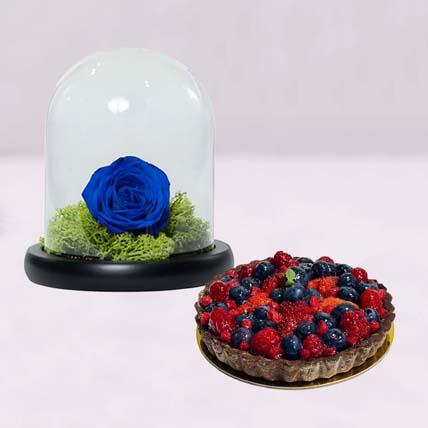 Elegant Blue Rose & Berry Tart Cake: Tart Delivery