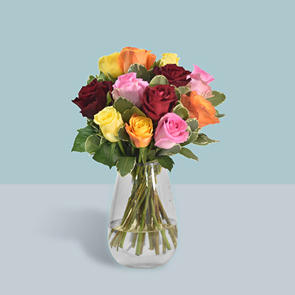 12 Vivid Roses in Vase: Gifts For Singles Day