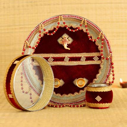 Royal Maroon Velvet Adorned Thali Set: