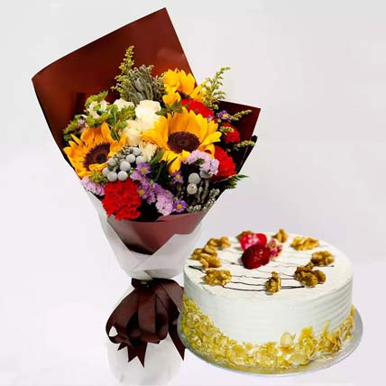 Mocha Cake and Beautiful Floral Bouquet: Flowers And Cake For Anniversary