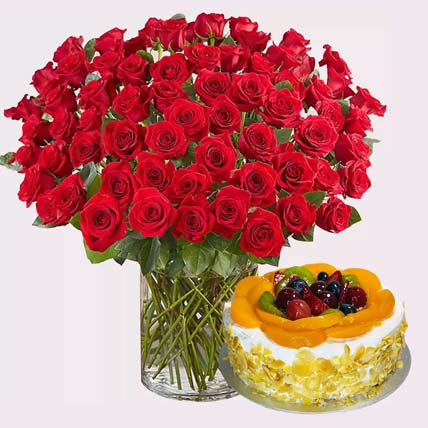 Romantic Roses and Deluxe Fruit Cake: For Anniversary