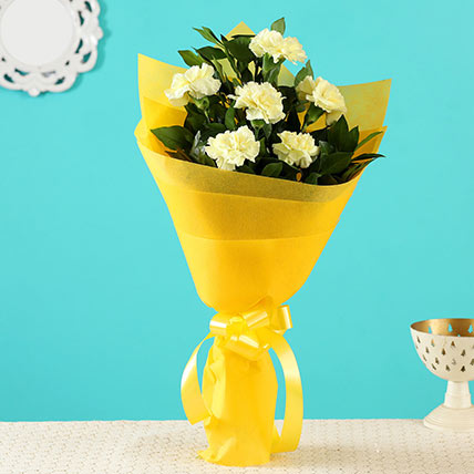 Sunny Side Up Yellow Carnations Bunch: Gifts For Singles Day