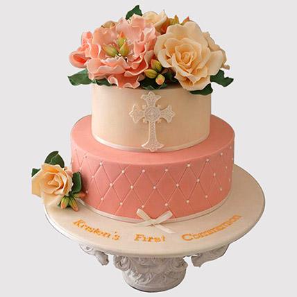2 Layered Floral Christening Cake: Christening Cakes