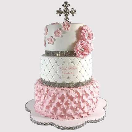 3 Layered Christening Cake: