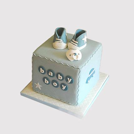 Baby Boy Block Shaped Cake: New Born Cakes