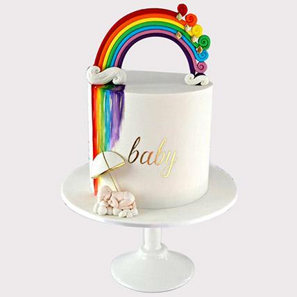 Baby Shower Rainbow Cake: