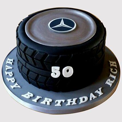 Car Tyre Shaped Cake: Car Theme Cakes
