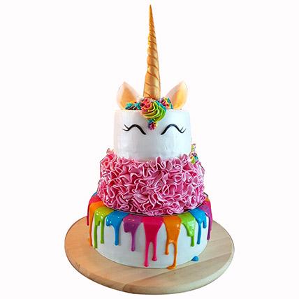 Happy Unicorn 3 Layered Cake: Baby Shower Gifts