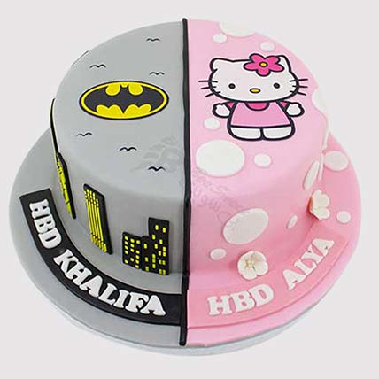 Hello Kitty and Batman Theme Cake: