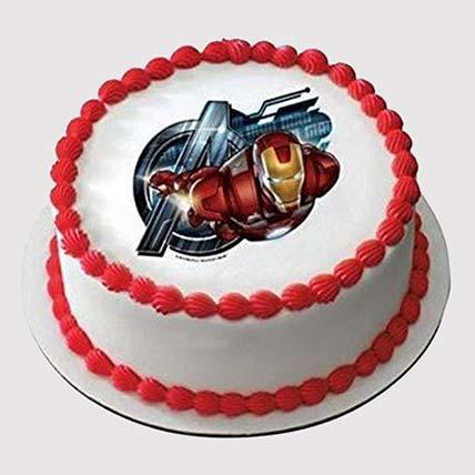 Iron Man Round Photo Cake: Fondant Cakes