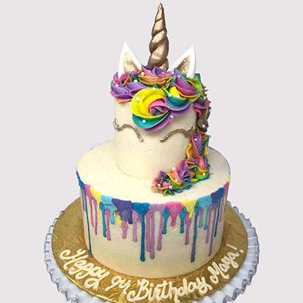 Layered Colourful Unicorn Cake: