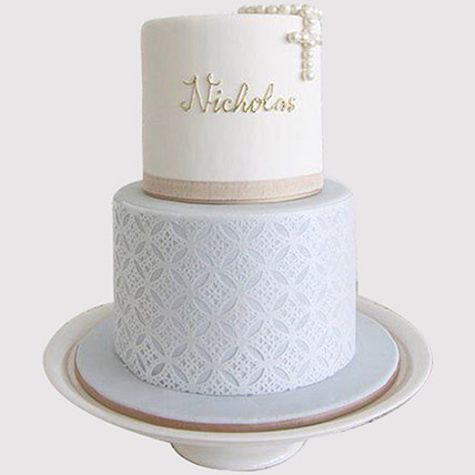 Two Layered Christening Cake: Christening Cakes