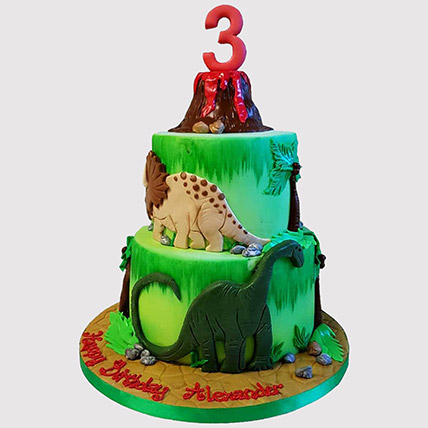 Volcano Jungle Cake: Cartoon Cakes