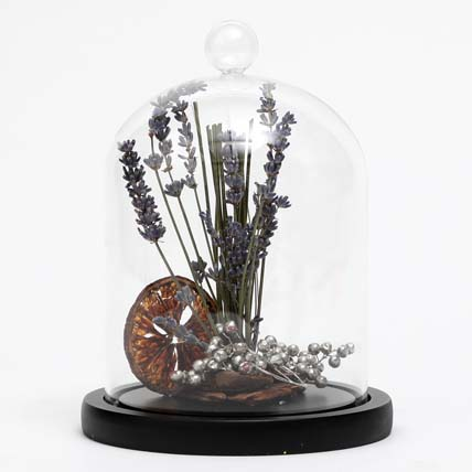 Dried Lavender In Glass Dome: Dried Flowers Singapore