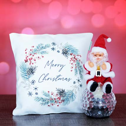 Merry Christmas Cushion With Santa Toy: Personalised Christmas Gifts