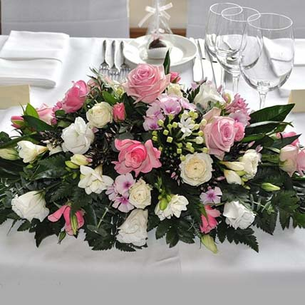 White & Pink Rose Table Arrangement: Table Arrangements