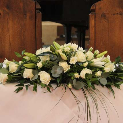 White Roses & Lilies Table Arrangement: Table Arrangements