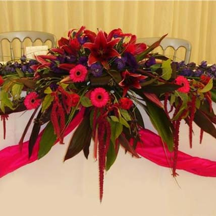 Red Floral Table Arrangement: Table Arrangements