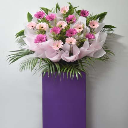 Light N Dark Pink Gerberas Flower Stand: Grand Opening Flowers