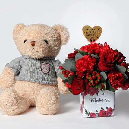Cuddles and Love For My Valentine: Plush Toys and Flowers