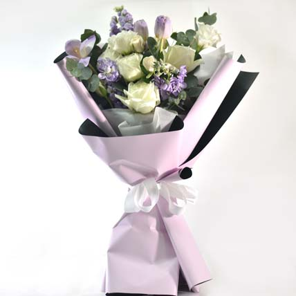 Elegance In Love Flower Bouquet: Blue Flowers