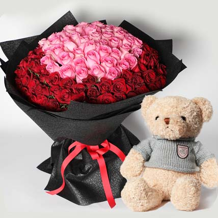 Teddy and 150 Roses Bouquet: Flowers With Teddy Bear